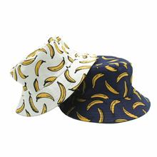 Causal Fashion Fisherman Hat Double Sided Wear Banana Print Sun Protection Cap Hip Hop Style Harajuku Caps For Men And Women fashion pop fruits cap unisex harajuku bucket hat adult double sided wear banana fisherman hat sunscreen outdoors cap sun hats