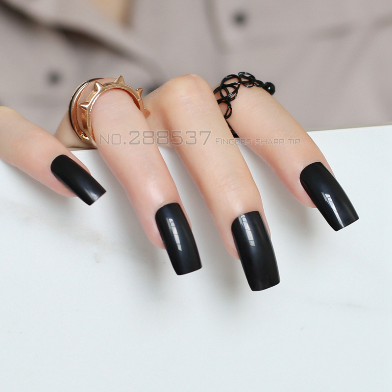 New Pure Super Long Square head black fake nail Candy solid color ...
