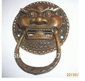 Copper Brass CHINESE crafts decor ation Asian bh 0014 ship Large Chinese BRASS Foo Door Knocker 3.8''
