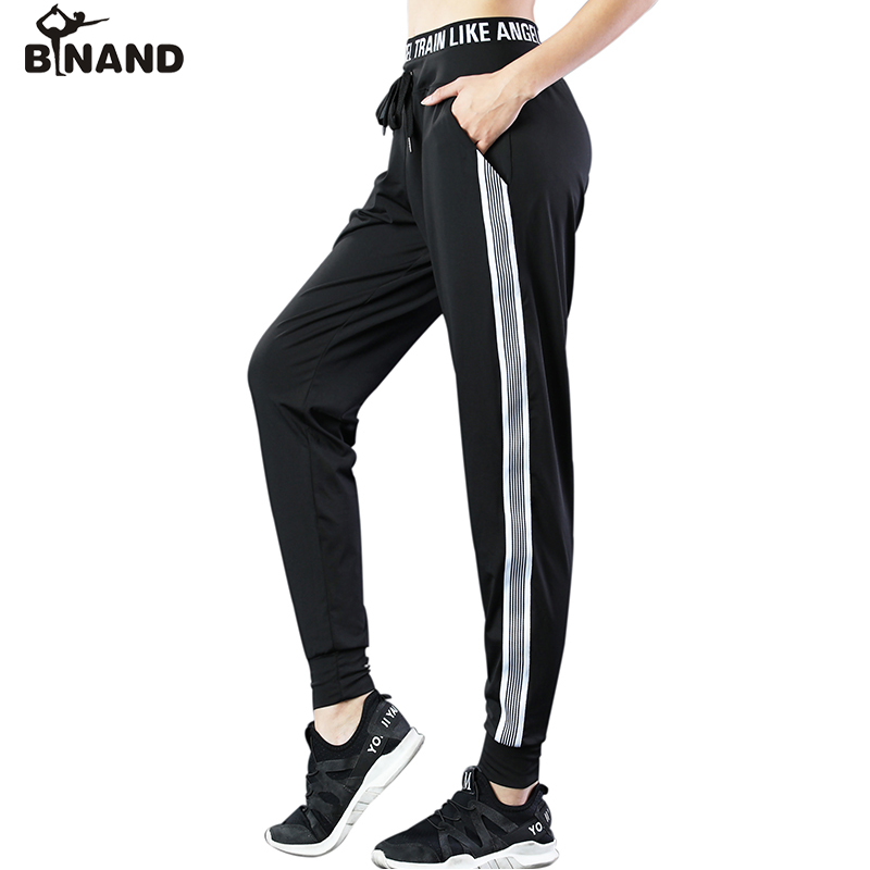 BINAND Drawstring Waistband Side Stripes Harlan Pants Females Breathable Loose Gym Fitness Training Workout Yoga Sports Trousers men letter print side drawstring pants
