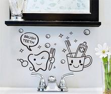 Brush Teeth Wall Sticker Lovely Removable Bathroom Decoration Vinyl Decals For Kids Art Wallpaper W452