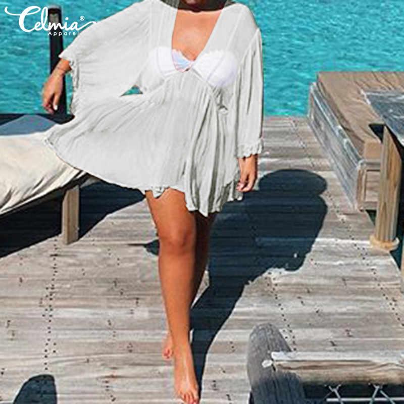 Lato czeski plaża Mini sukienka na co dzień 2019 Celmia luźne Ruffles rękaw Sexy głęboki dekolt w serek solidna sukienka Plus rozmiar bluzka z szyfonu 5XL