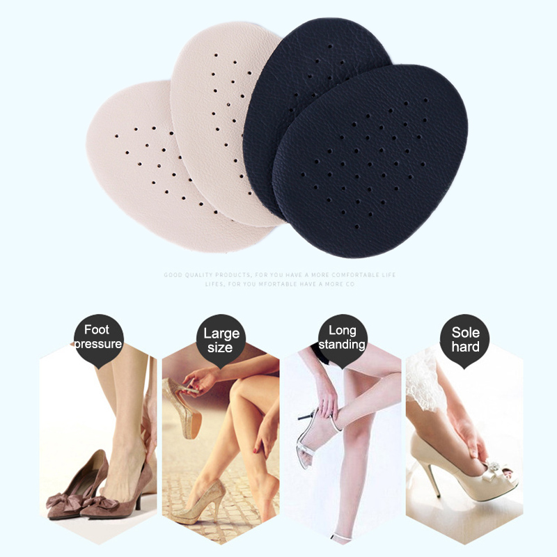 2 Pairs Half Insoles Comfortable Leather Bottom Latex Anti Slip Breathable High Heel Shoes Pad New