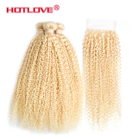 613 Blonde Brazilian Human Hair Weave Bundles 613 Blonde Remy Hair With Closure For Hair Salon Kinky Curly Hair Extensions