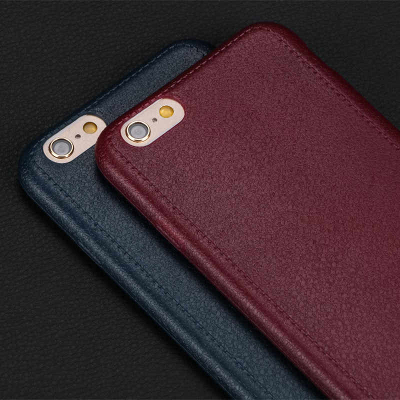 Ultra Dunne Flexibele Siliconen Case Voor Iphone 6 6S Cover Leather Patroon Telefoon Gevallen Voor Iphone X 7 8 plus 6 6S 5 5S Se Case