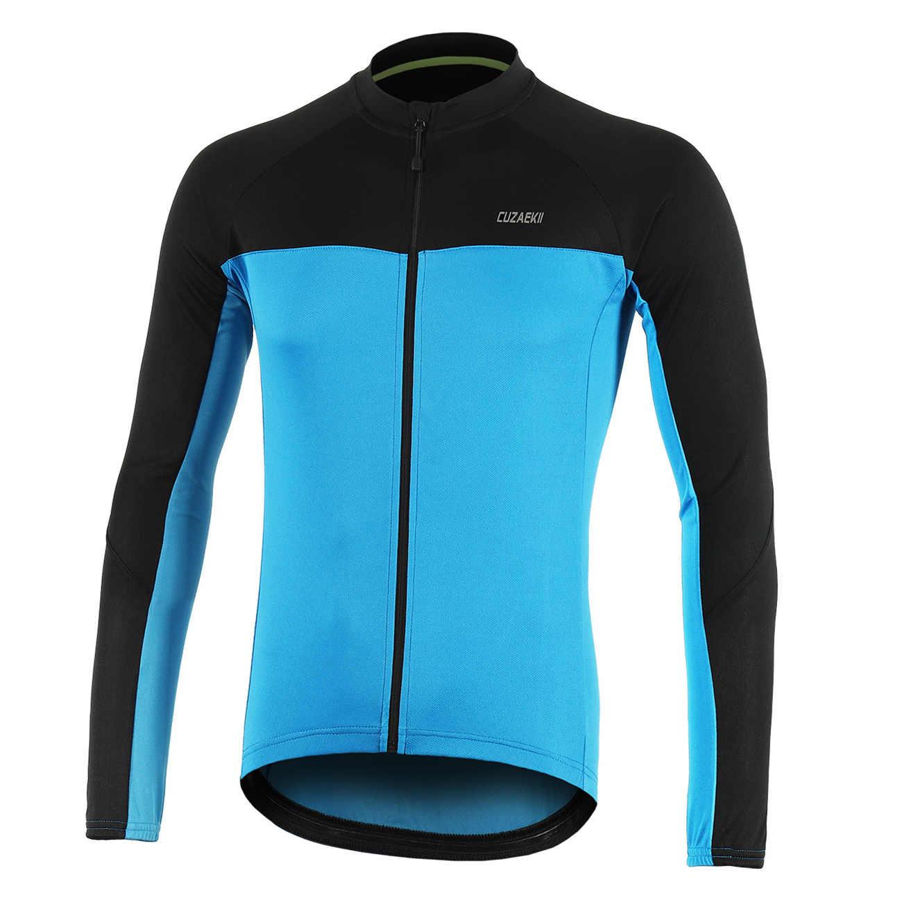 Cuzaekii degli uomini di Estate Della Chiusura Lampo Piena Ciclismo Jersey Maniche Lunghe MTB Mountain Bike Abbigliamento Sportivo Camicette-Fluorescente Verde Rosso Blu