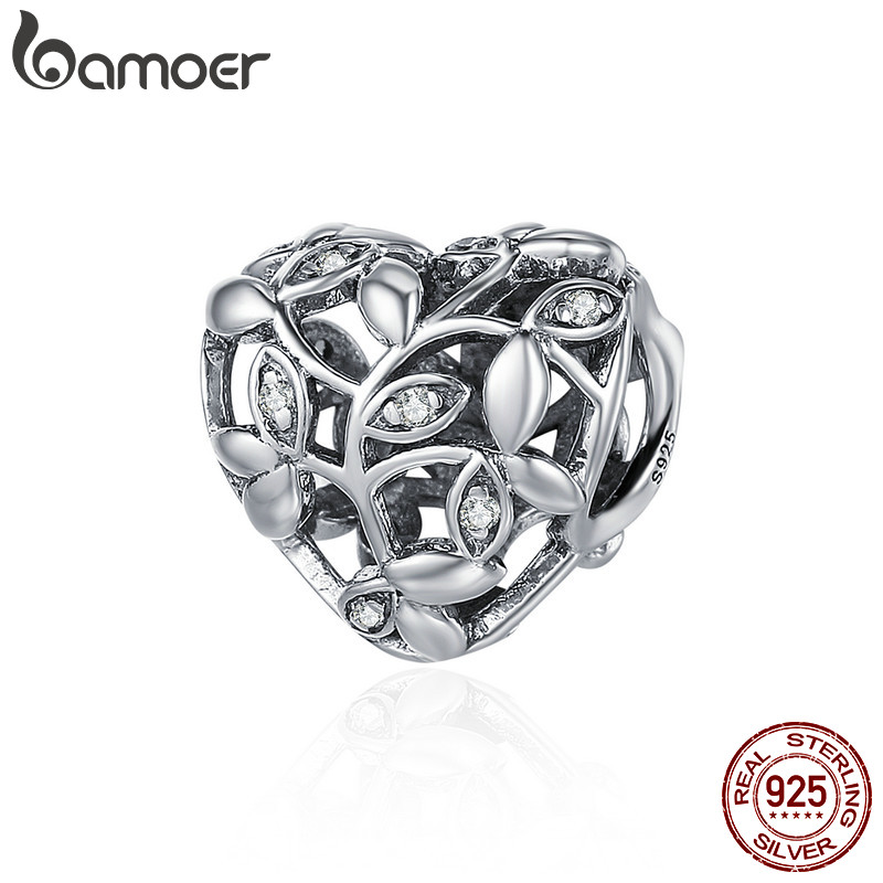 BAMOER Romantic New 100% 925 Sterling Silver Tree of Leaves Heart Charm Beads fit Bracelet Jewelry Valentine Day Gift SCC489
