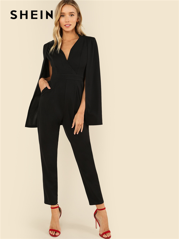 Fiere Womens Pure Long Sleeve Elegant Career Belted Playsuit with Pockets