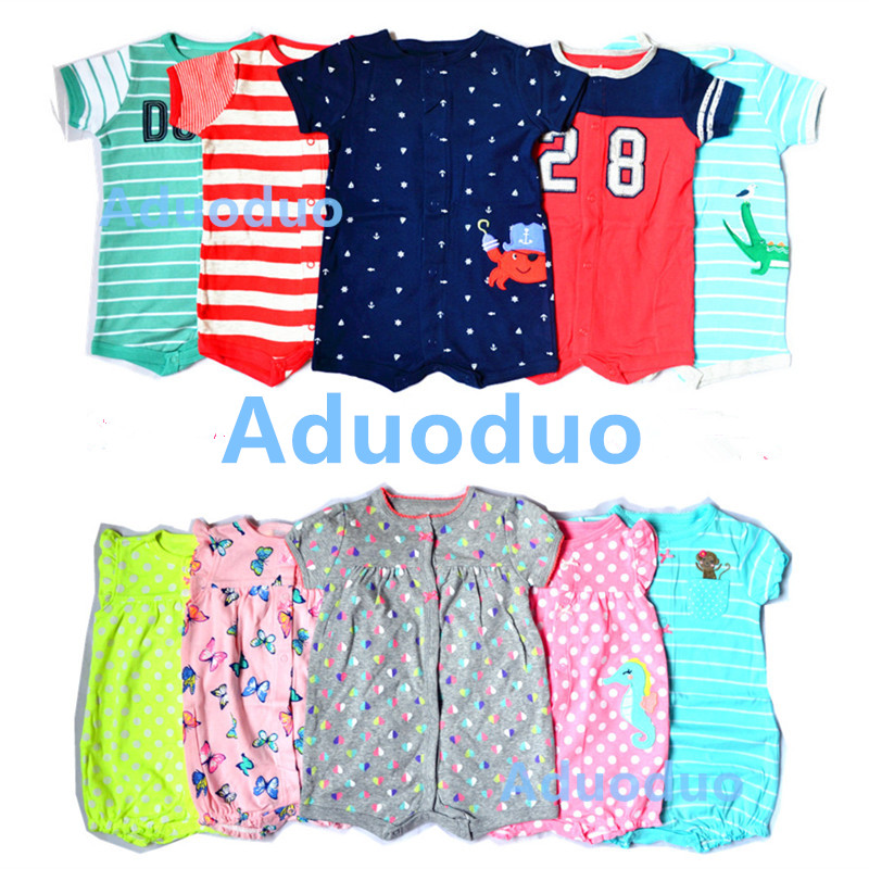2017 Newborn Baby Boys Girls Boxer Romper kid Clothes Short Sleeve Infant bodysuits Butterfly Strawberry dinosaur appliques