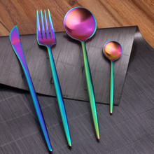 Dinnerware Steak Knife Stainless Steel Portugal Style Flatware Set Rainbow Color Rose Gold Tableware Set Soup Scoop Meat Fork