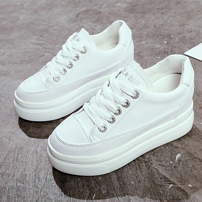 YeddaMavis White Platform Sneakers Women Womens Shoes Off New Wild Thick Bottom Woman Trainers