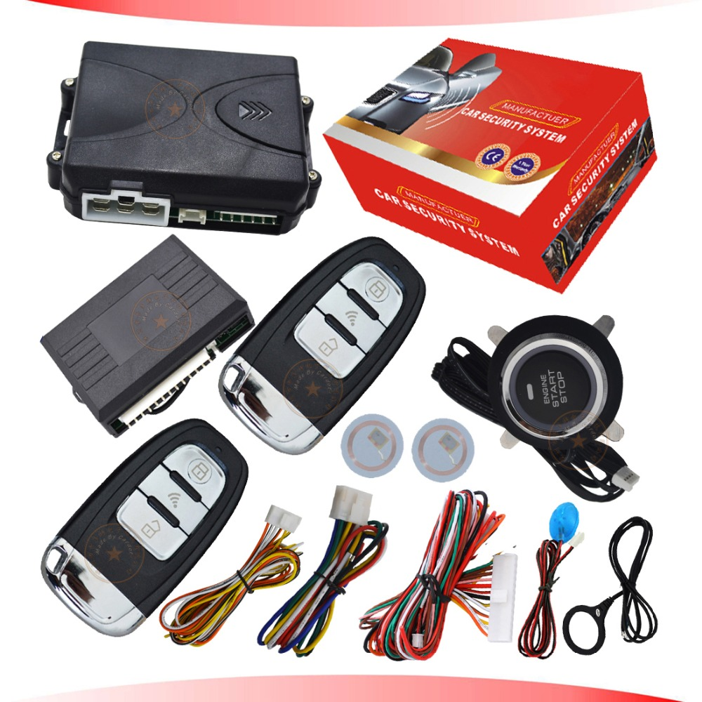 remote keyless entry with car engine ignition start stop button rfid immobilizer anti theft feature bypass output