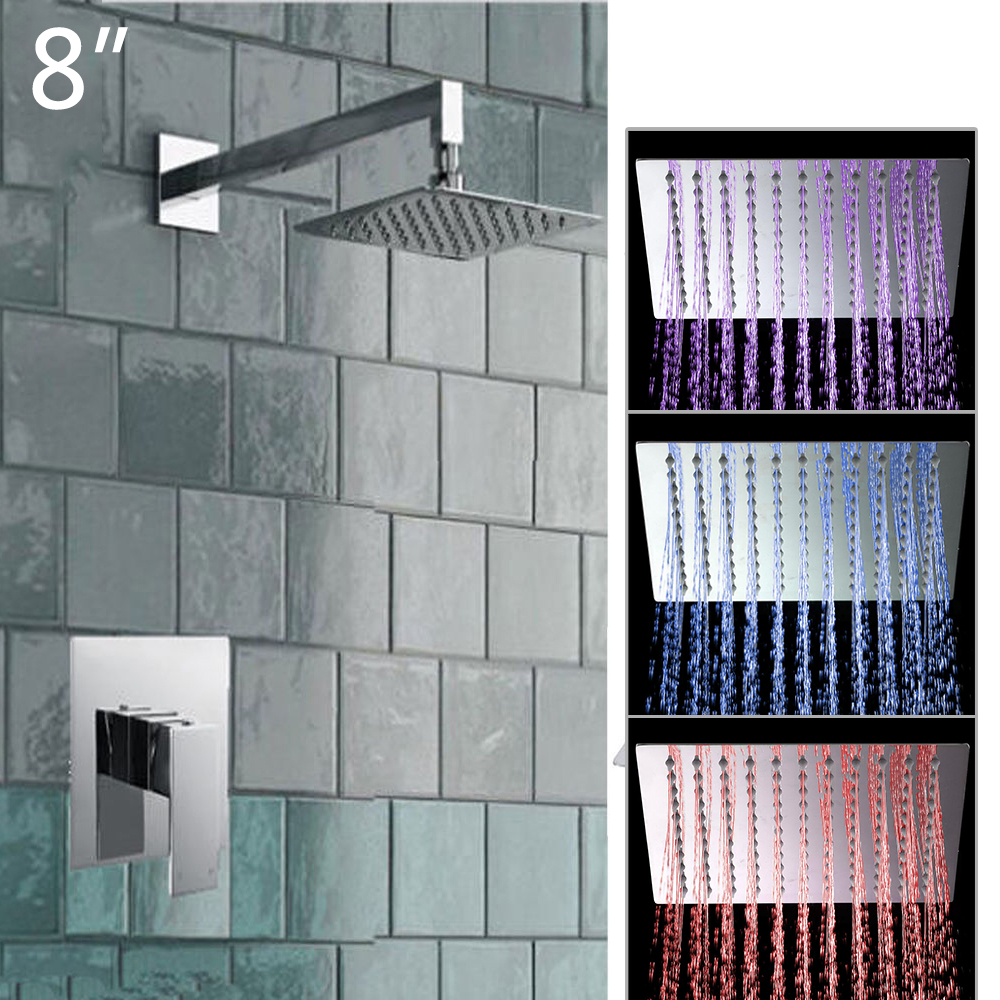 8 LED Bathrome Bathtub Rainfall Shower head Polished Wall Mounted Swivel Mixer Taps Shower Faucets Set Chrome Finish 8 led bathrome bathtub rainfall shower head polished wall mounted swivel mixer taps shower faucets set chrome finish