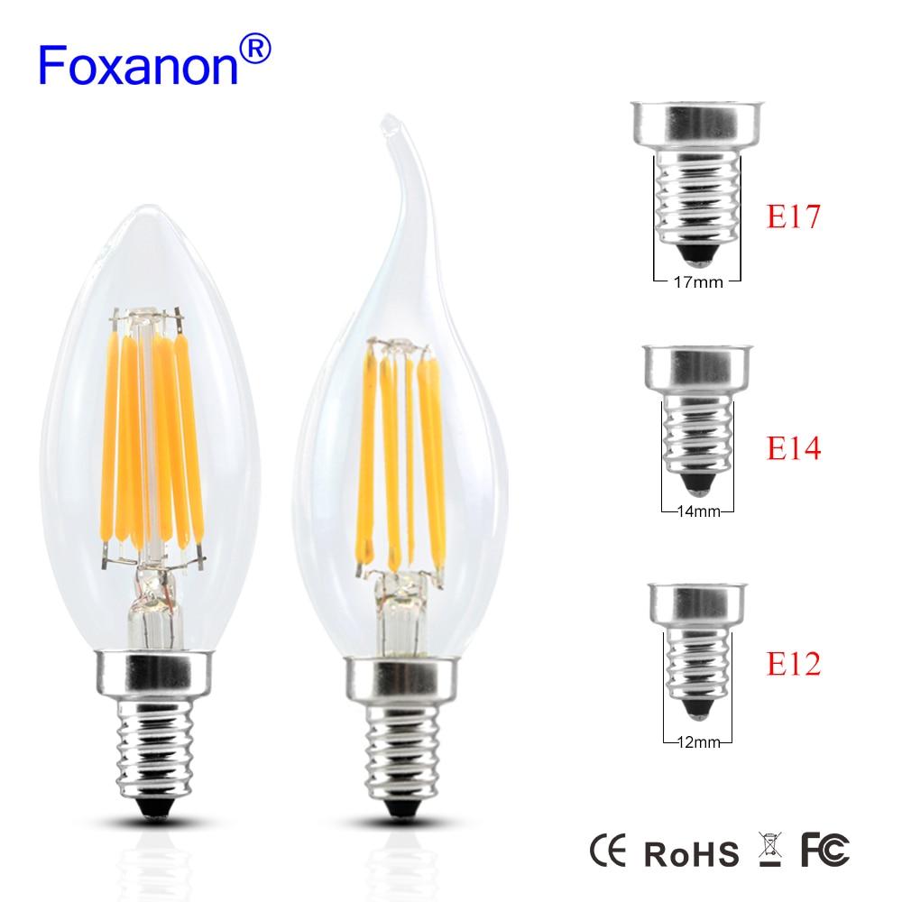 edison bulb filament led lamp e14 e12 e17 220v 110v 2w 4w 6w c35 led edison bulb glass filament. Black Bedroom Furniture Sets. Home Design Ideas