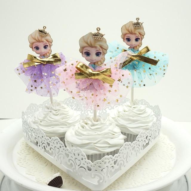 10pcs Cupcake Cake Topper Happy Birthday Cake Flags Crown Aisha