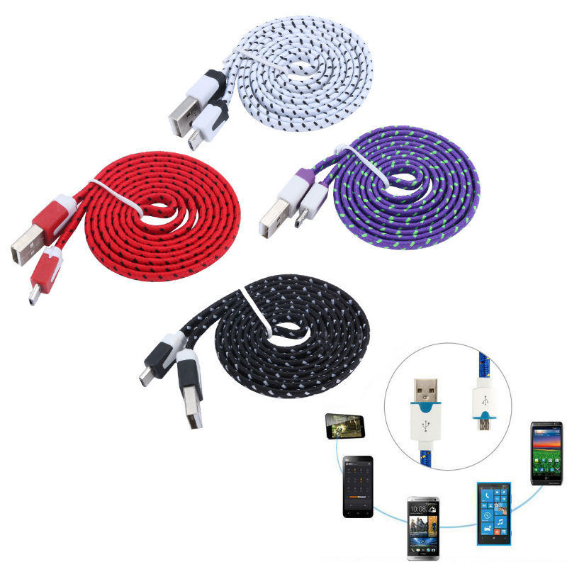 Micro USB Cable 1M/2M/3M Length Android Phone Tablet PC USB Data Sync Charging Cable Flat Noodle Fabric Braided USB Cable
