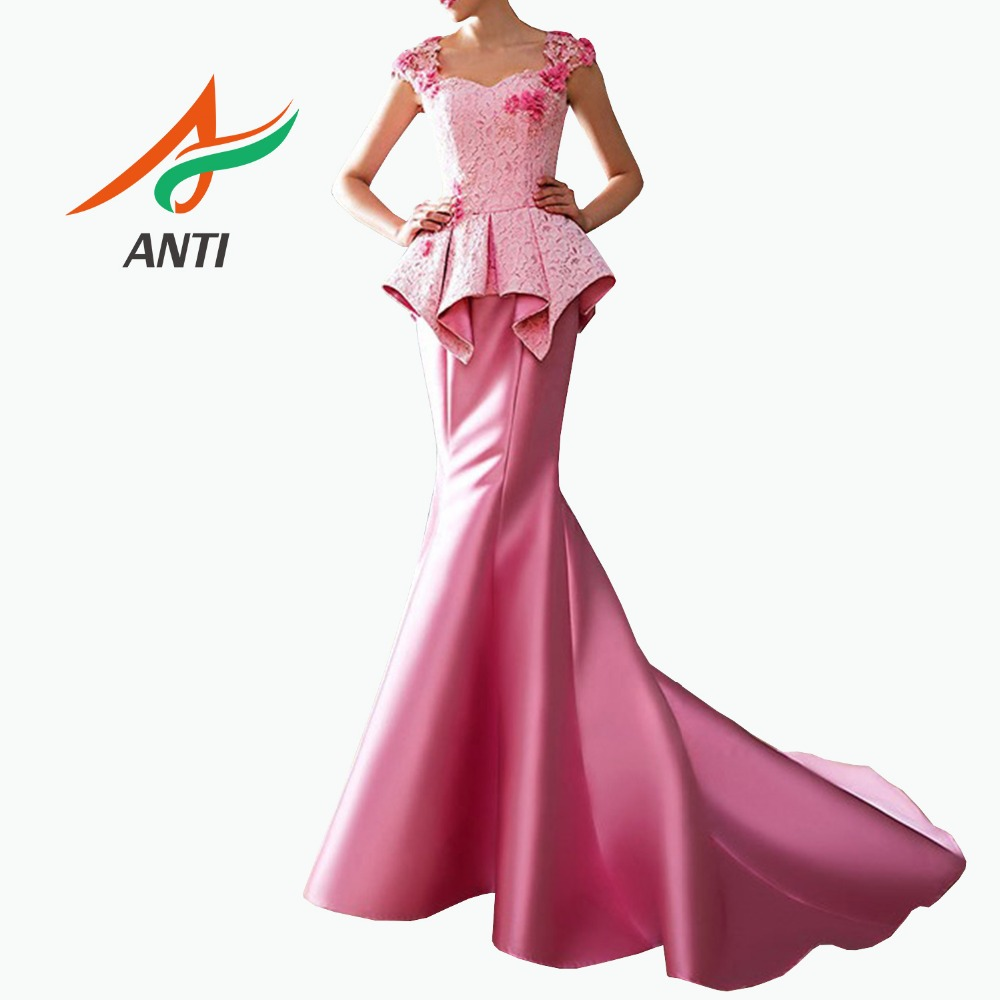 ANTI Fashion Pink Mermaid   Prom     Dresses   2019 for African Black Girls Satin Beaded Real Pictures vestidos largos de fiesta de gala