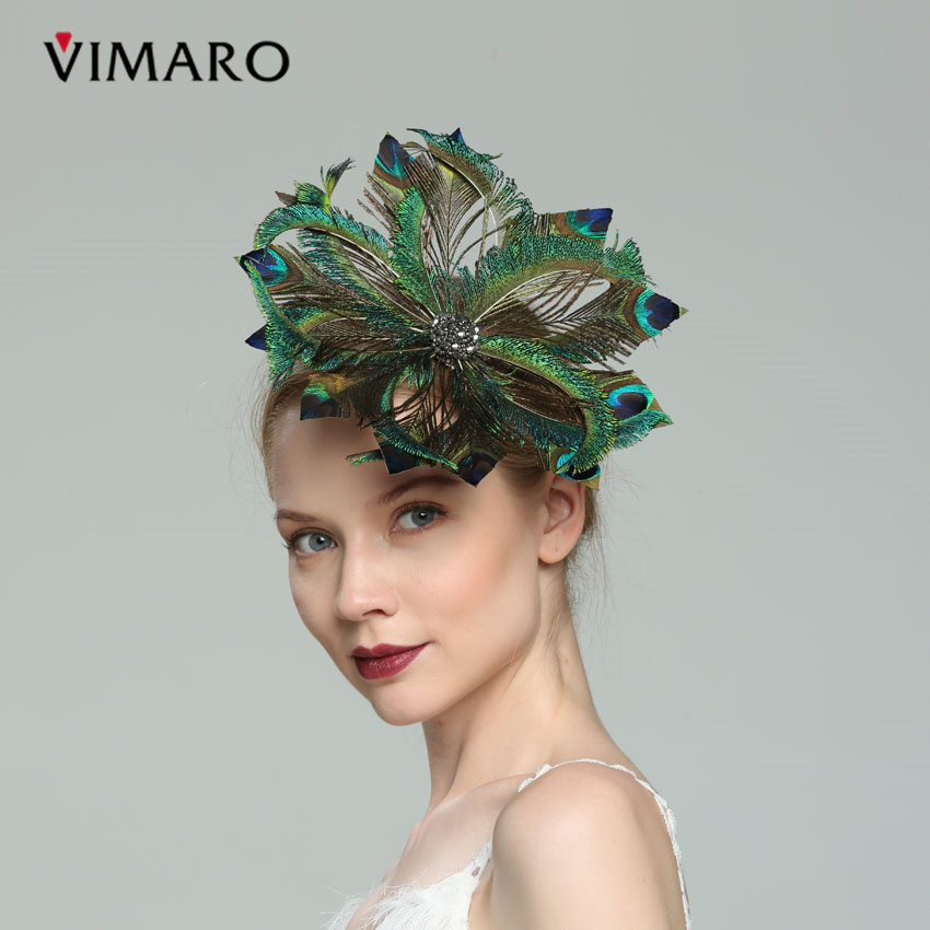 VIMARO Elegant Natural Green Feather Wedding Fascinator Party Hair Accessories For Women Hair Jewelry Headpiece Church цена 2017