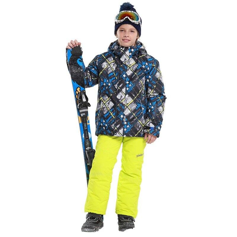 Nouveaux Garçons Hiver Chaud Sport Manteau Ensembles de Ski En Plein Air À Capuche Vestes + Pantalon Enfants Snowboard Ski Glace Neige Épaissie costumes