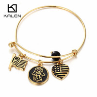 Flag Palm Heart Pattern Knot Bracelet 18K Gold Plated Adjustable Charm Bangle Bracelets Womens Christmas Gifts