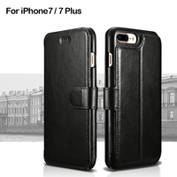 XOOMZ Genuine Leather Phone Cases For IPhone7 7 Plus Wallet Case Book Design And Magnetic Closure