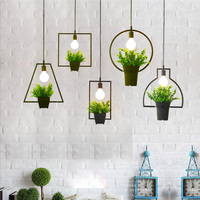 Estilo rural planta pote luz pingente quadrado forma redonda ferro forjado droplight restaurante cafe bar jardim deco lâmpada pendurada