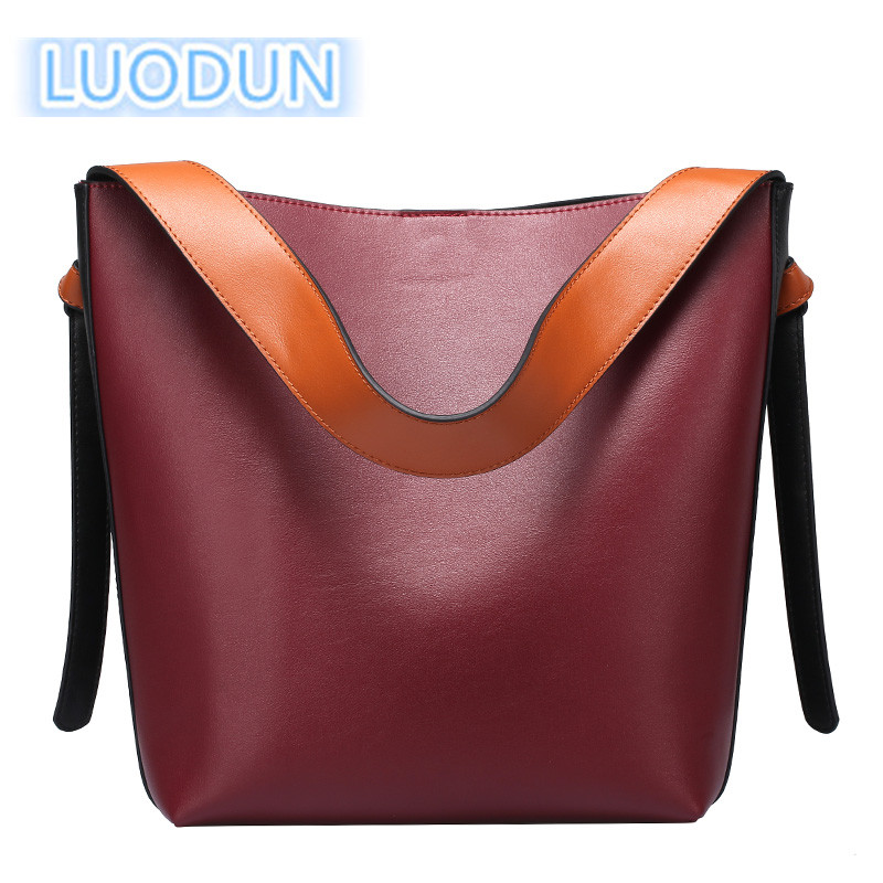 LUODUN2018 fashion avant-garde spring and summer new casual fashion leather handbag bag hit color bucket bag shopping bag should yuanyu 2018 new hot free shipping real python skin snake skin color women handbag elegant color serpentine fashion leather bag