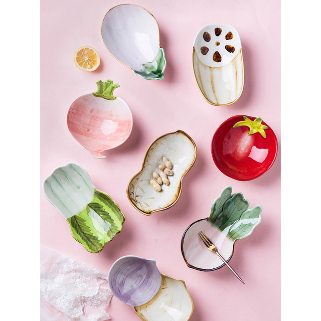 5 inch ceramic creative bowls vegetables sharp printed under glazed fruit dessert salad bowl greens tomatoes radish sharps