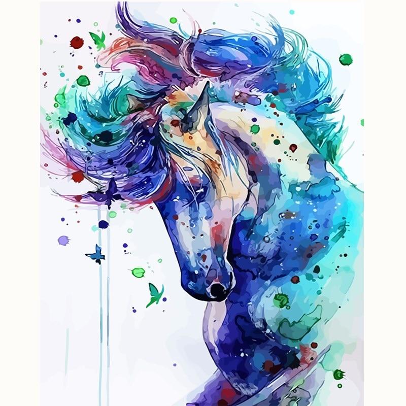 Cavalo abstrato Animal imagem por números Kits número Pintura imagem Sala de estar decoração de pintura diy por números 40X50 nenhum quadro