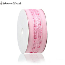 DoreenBeads Organza Easter Baby Shower Decoration Ribbon Pink Baby Carriage Pattern For New Year Party Gift Packing About18m 1PC