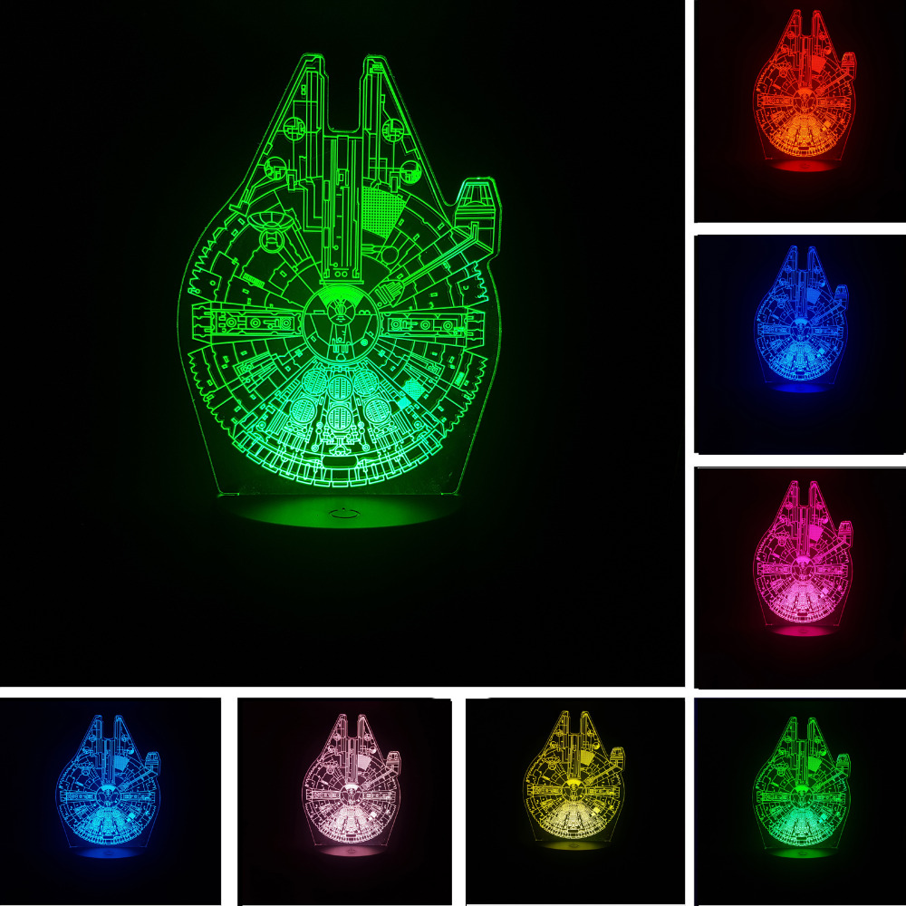 ⊰¡ Venta caliente! Star Wars Millennium Falcon 3D noche luz táctil ...