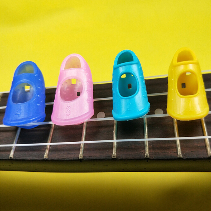 4Pcs/Set Silicone Finger Guards Guitar Fingertip Protectors Ukulele Guitar Accessories For Training Learning Guitar Best Choice