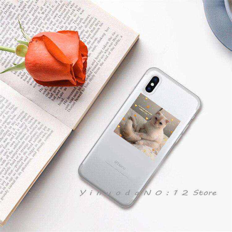 Yinuoda супер милый кот собака мультфильм розовый в форме сердца ты и я серия HD Прозрачный чехол для телефона для iphone 6 7 8 Plus X XS XSMax 5S - Цвет: 7