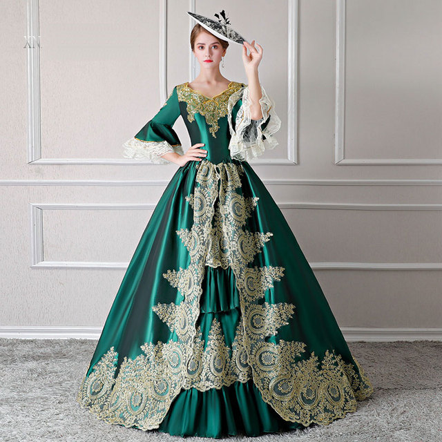 Customized 2018 Winter European court Stage Performance Party Green Dresses Gold Appliques Marie Antoinette Evening Ball Gowns