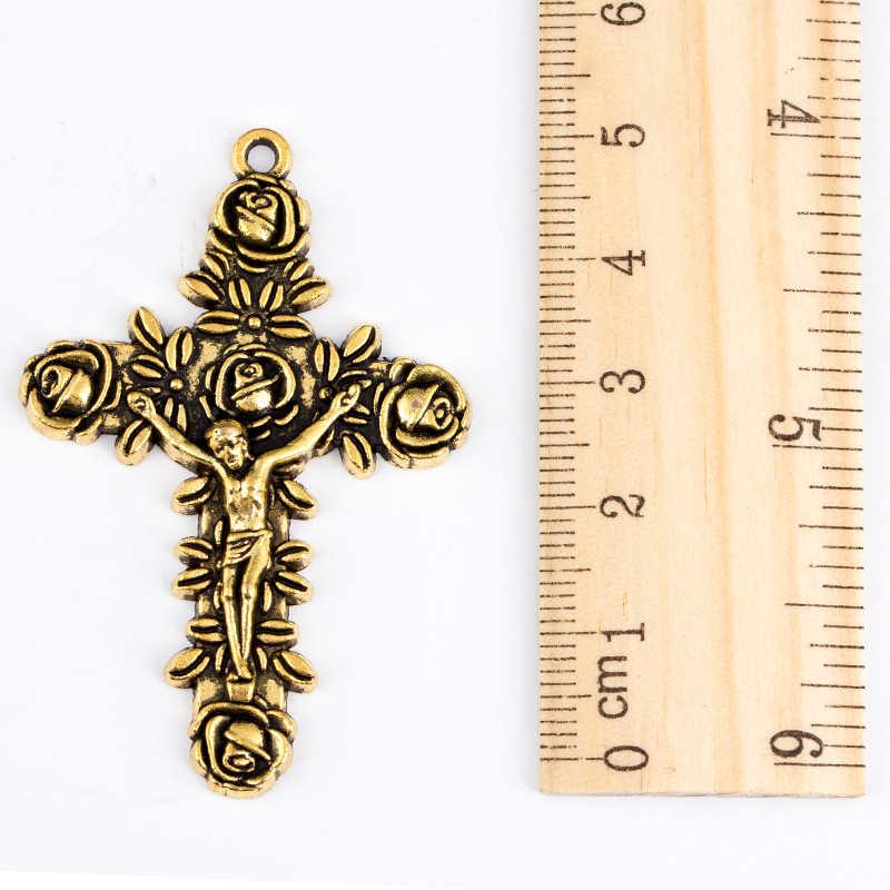 Wisiorek krzyżyk naszyjnik dla kobiet mężczyzn 585 złota róża ślimak Link łańcuch krzyż naszyjnik modna biżuteria hurtowo