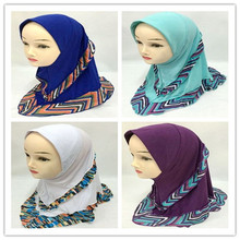 New arrival print shawl wrap kids hijabs for girls size:0T-10T