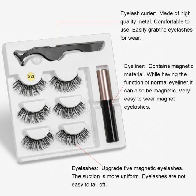 Magnetic Eyelashes 3 pairs Eyeliner Eyelash Curler Set5 Magnet Natural Long Magnetic False Eyelashes With Magnetic Eyeliner 1