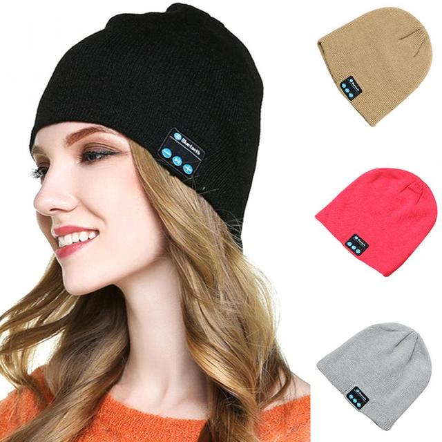 3106315efeb0a4 Soft Warm Beanie Bluetooth Hat Wireless Bluetooth Smart Cap Headphone  Headset Speaker Music Cap Built in Mic For Mobile Phone