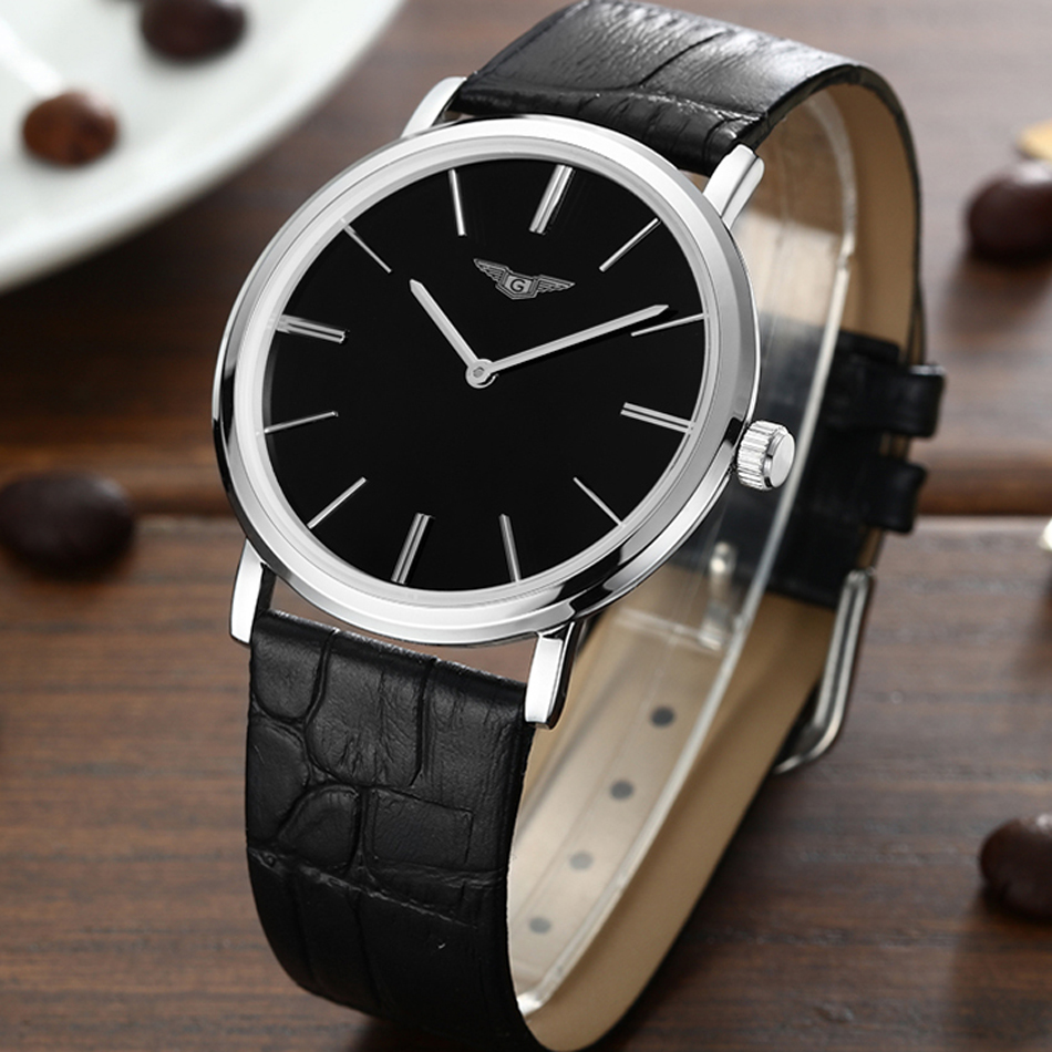 ФОТО GuanQin Watch Men Simple Style Leather Strap Ultra Thin dial Montre Homme Calendar Watch For Men Wristwatches Relogio Masculino