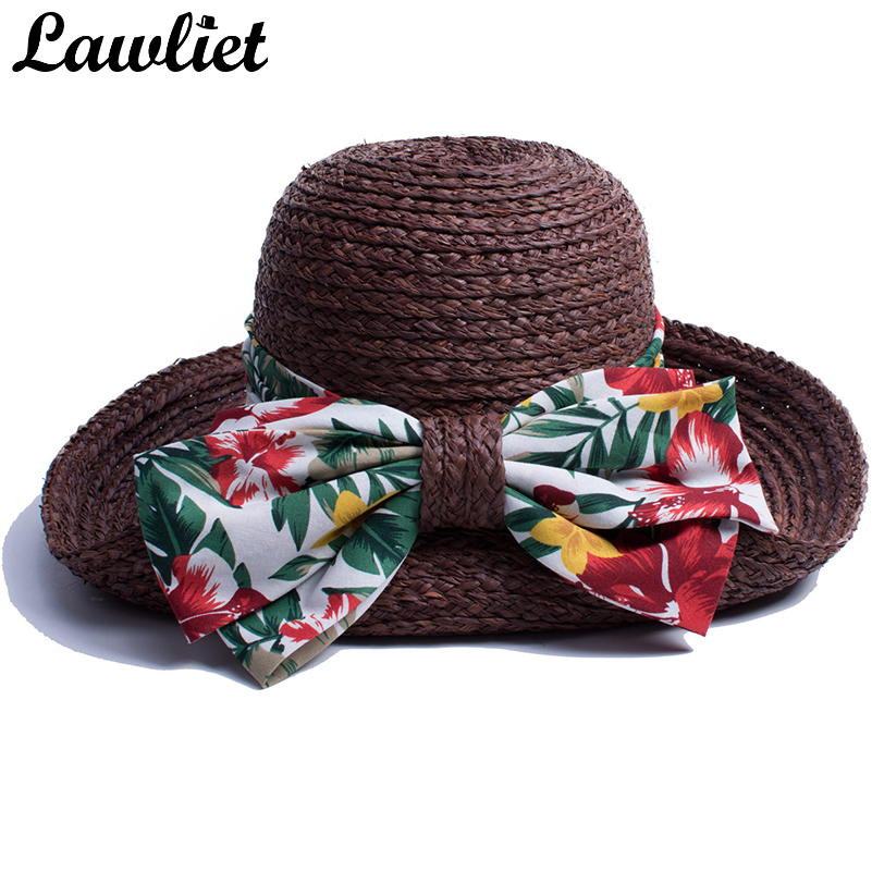 Women Sun Hats Tropical Hawaii Style Ribbon Wide Brim