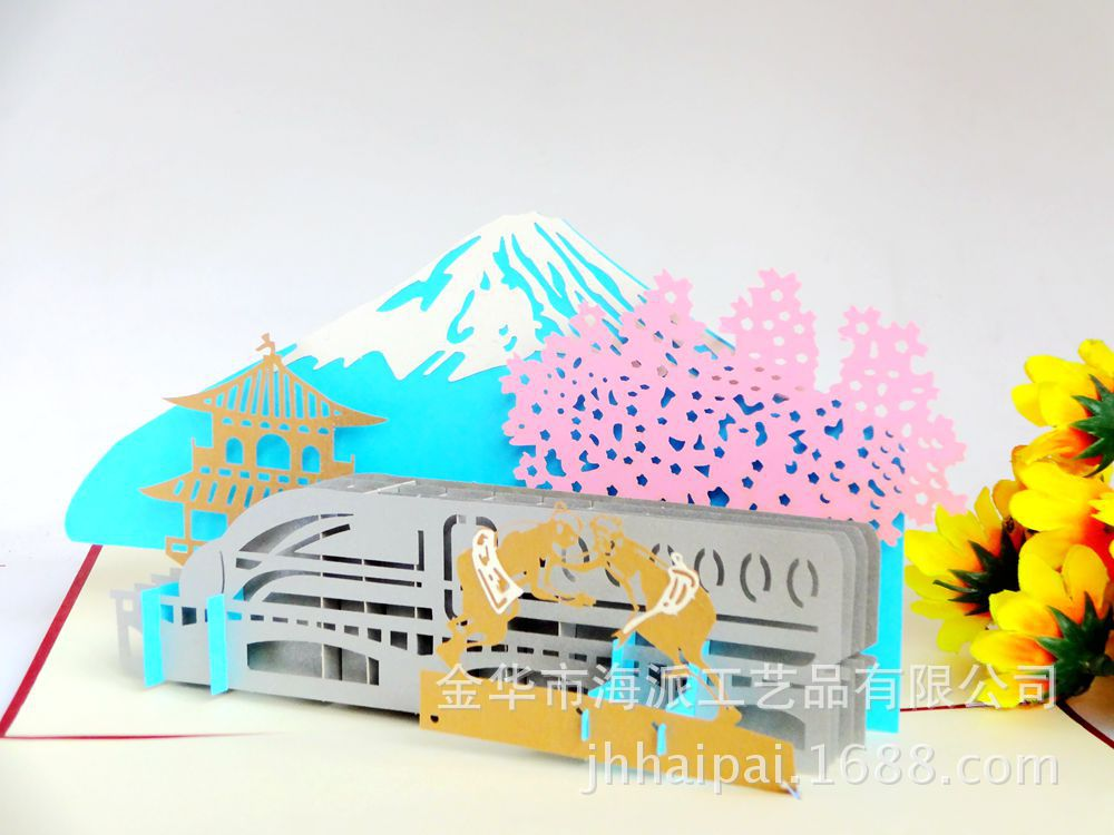 Japanese manufacturers selling Mt Fuji stereo card creative building DIY manual laser paper the construction of taj mahal tourism 3d cubic life manual paper card card creative stereo
