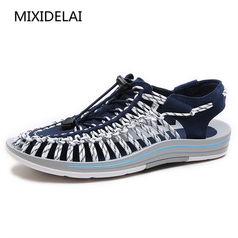MIXIDELAI 2018 New arrived summer sandals men shoes quality comfortable men sandals fashion design casual men sandals shoes casual men s sandals with striped and velcro design