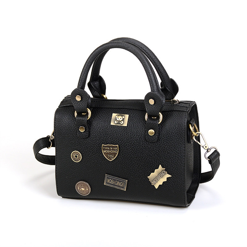 Luxury Boston Bag Ladies Cartoon Letters Metal Retro Shoulder Bag Designer  Cheap Handbag Women Trendy Fashion