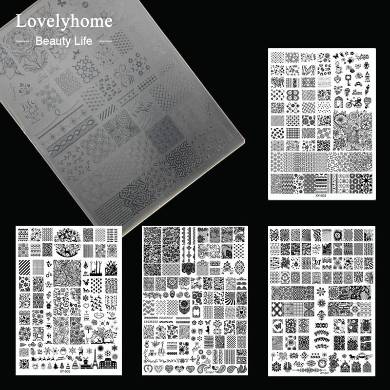 1pcs XL Acrylic Nail Stamping Plates Clear Templates Stamp Assorted Designs Manicure Tool Lightweight big size clear stamp block with grid transparent stamp holder acrylic pad diy scrapbooking decoration tools acrylic holder