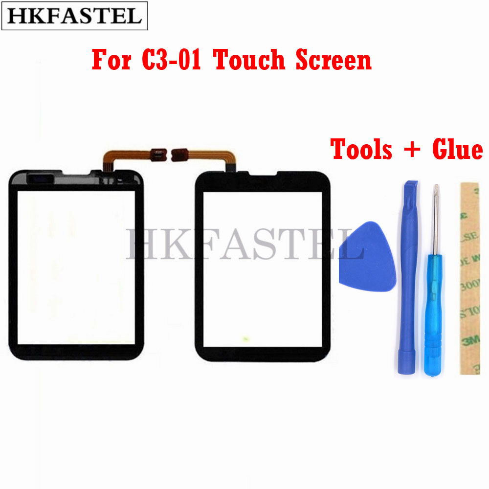 HKFASTEL High Quality Touch For Nokia C3-01 C3 01 Black Gold Touch Screen Digitizer Sensor Front Glass Lens Panel + Tools + Glue