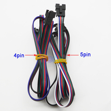 Free Shipping 5 piece 1Meter long 4pin 5pin 22AWG JST SM Plug Male to Female Wire Connector Cable for RGB led strip Module Light цена и фото