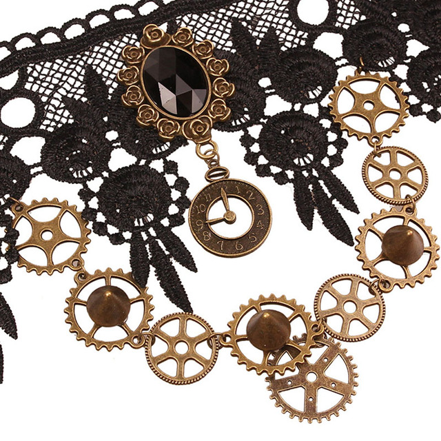 Gothic Gear Wheels Decorated Lace Steampunk Choker Necklace
