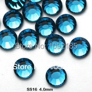 Corrente de strass frete grátis. Atacado cor azul falt volta rhinstone1440pcs / pack ss16 3.8 - 4 mm cristal nail art strass