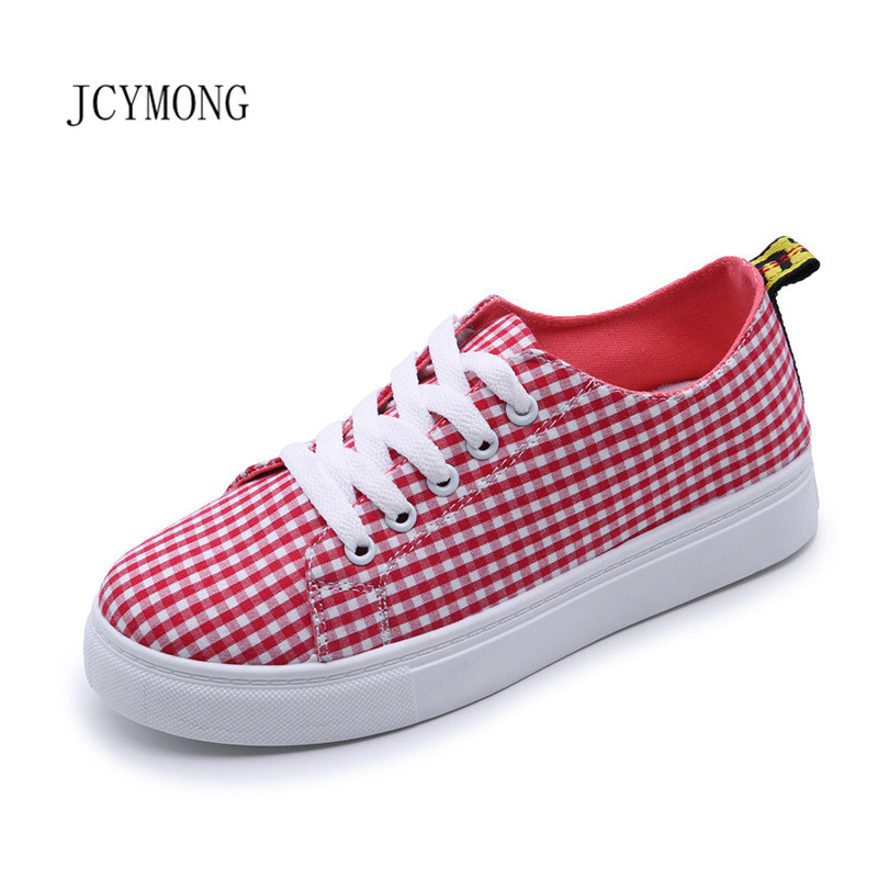 JCYMONG 2018 Hot!Women Gingham Lace Up Sneakers Fashion Red Black Sewing Canvas Flat Shoes Causal Shoes Zapatos Mujer