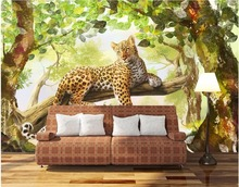 Custom mural 3d photo wallpaper The jungle panther TV  home decor painting 3d wall murals wallpaper for living room walls 3 d цена